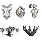 5 Pieces Hand Pattern Design Temporary Body Art Beauty Women Tattoo Sticker
