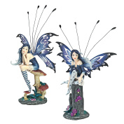 Design Toscano Azure and Sapphire, The Pepperwand Fairy Statues, Set of 2