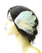 Mint Green Ivory Cream Silver Peacock Feather Fascinator Vintage Hair Clip 1408 *EXCLUSIVELY SOLD BY STARCROSSED BEAUTY*