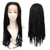 Synthetic Braided Lace Front Wigs African American Twist Braids wigs for Black Women Natural Black Colour
