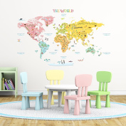 Decowall DLT-1616 Colourful World Map Peel and Stick Nursery Kids Wall Decals Stickers