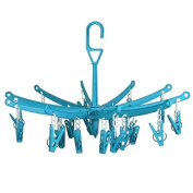 Hangerworld 20 Peg Plastic Foldable Indoor Stock Dryer Airer, Pack of 2, Light Blue