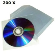 Chance SAS Universal - 200 Clear Sleeves for CD DVD WITH FLAP