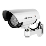 Tech Traders ® Outdoor Indoor Fake Dummy Imitation CCTV Silver Security Camera with Blinking Flashing Light