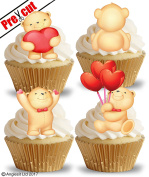 PRE-CUT CUTE LOVE TEDDY BEARS EDIBLE RICE / WAFER PAPER CUPCAKE CAKE DESSERT TOPPERS ENGAGEMENT ANNIVERSARY WEDDING VALENTINE'S DAY PARTY DECORATIONS