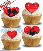 PRE-CUT LOVE HEARTS II. EDIBLE RICE / WAFER PAPER CUPCAKE CAKE DESSERT TOPPERS ENGAGEMENT ANNIVERSARY WEDDING VALENTINE'S DAY PARTY DECORATIONS