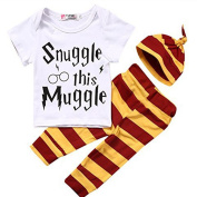 Baby Girl Boy Snuggle this Muggle Tops T-shirt+Leggings + Hat Outfits Set (100