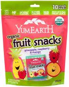 YumEarth Organic Tropical Fruit Snacks,Raspberry/Pineapple/Mango,10Count