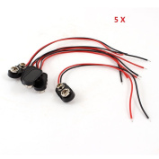 5pcs Black Hard Plastic Housing 1 Type Wire 9V Battery Clip Connector
