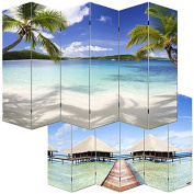 M68 Beach Photo Motif Room Divider Screen, 180 x 240 cm