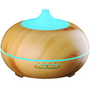 300ml Cool Mist Ultrasonic Humidifier, VicTsing Wood Grain Essential Oil Diffuser with 4 Timer Settings, 10 Hours Continuous Mist, 7 Colour Changing LED Lights, Waterless Auto off Air Purifiers for Office, Spa, Baby Room, Etc