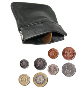 Risingstar MENS LADIES BLACK REAL LEATHER COIN POUCH WALLET PURSE