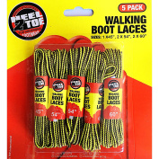5 X Pairs Pack Strong Durable Yellow and Brown Walking Boot Laces