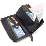 Everdoss Mens Clutch Bag with Wrist Strap Genuine Leather Cover Business Wallet