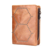 Contacts Mens Genuine Leather Bifold Trifold Card Holder Zipper Coin Purse Wallet