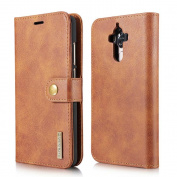 Huawei Mate 9 case [with Free Screen Protector] [Magnetic Detachable], ESSTORE-EU 100% Handmade Genuine Leather Wallet Magnetic Flip Case Cover for Huawei Mate 9 case- Brown