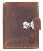 Tan compact size genuine leather wallet with a buckle to close
