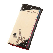 Kingko® Womens Long PU Leather Wallet Paris Tower Pattern Small Card Clutch Holder Handbag Purse