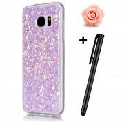 Samsung Galaxy S7 Glitter Case,TOYYM Transparent Clear Sparkle Bling Glitter Case for Samsung Galaxy S7,3D Creative Funny Cute Pink Dot Glitter Design Tpu Protective Shell Case Cover for Samsung Galaxy S7