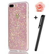 iPhone 7 Plus Glitter Case,TOYYM Transparent Clear Sparkle Bling Glitter Case for iPhone 7 Plus,3D Creative Funny Cute Pink Dot Glitter Design Tpu Protective Shell Case Cover for iPhone 7 Plus 14cm