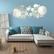Kingko® Round Acrylic Mirror Background Wall Sticker Bedroom Decoration