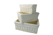 Arpan White Wicker Storage Basket With Removable Lining, Set of 3 - Special Xmas Gift Hamper