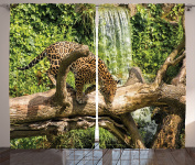 Ambesonne Safari Decor Collection, Jaguar Cat on a Tree Trunk Waterfall Endangered Species Wild Life Fast Animal Image, Living Room Bedroom Curtain 2 Panels Set, 270cm X 210cm , Green Peru Tan