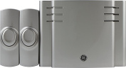 GE Battery-Operated Wireless Door Chime with 2 Pushbuttons, Satin Nickel, 8 Melody, 30393