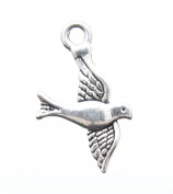 Dove / Bird Charms Silver Zinc Metal Alloy 22x14mm AVBeads