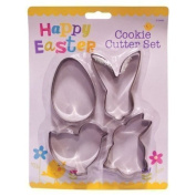 4x Assorted Easter Metal Cookie & Pastry Cutters -Egg, Chick & Bunnies by ITP Imports