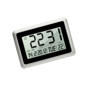 HeQiao Slim Large LCD Digital Alarm Clock Day Date Digital Calendar Day  Clock Large Digital Wall