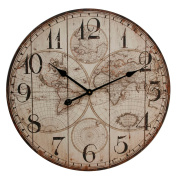 Vintage Style Wooden Panel World Map Wall Clock 60cm w arabic dial