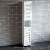 Home Discount Liano Bathroom Cabinet Storage Cupboard Shutter Doors Floor Standing Tallboy Unit, White