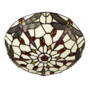 Tiffany Antique Style Red/White Glass and Jewelled Dragonfly Design Flush Uplighter Ceiling Light