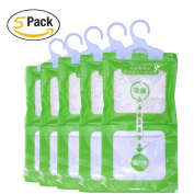 A & J 5 Pack Kitchen Bathroom Wardrobe Hanging Hygroscopic Anti-mould Deodorising Moistureproof Desiccant Bag, Dehumidification process Could be Witness