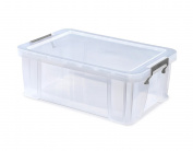 Whitefurze Allstore Container with Red Clamp, Plastic, Natural, 15 Litre