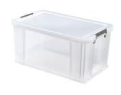 Whitefurze Allstore Container with Red Clamp, Plastic, Natural, 54 Litre