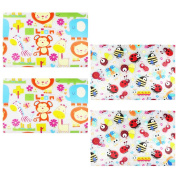 COM-FOUR Wipe Clean Placemat for Kids with Colourful, Various Motifs Set of 4 Approx. 44 x 28 cm