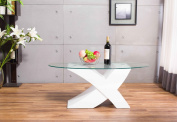 "Designer WHITE ""X"" MILANO High Gloss & Glass Coffee Table Modern Furniture*"