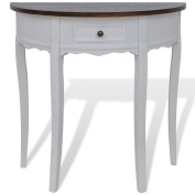 Anself White Half-round Console Table with Drawer Brown Top