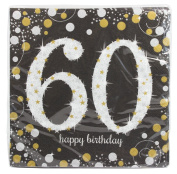 Amscan 511547 33 cm Gold Celebration 60th Luncheon Napkins