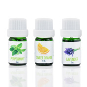 Lavender, Peppermint and Sweet Orange | 3-Pack 5ml Bottles | Pure Therapeutic Grade Essential Oils | Gift Set Bundle for Aromatherapy Starters