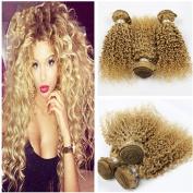 Tony Beauty Hair Top Quality Brazilian Honey Blonde Human Hair 3Pcs #27 Pure Colour Kinky Curly Virgin Remy hair Wefts 3 Bundles Lot 25cm - 80cm Strawberry Blonde Human Hair Weaves Extensions