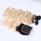 Tony Beauty Hair Ombre 4x4 Lace Closure Free Part With Extensions Two Tone 1B/613 Blonde Ombre Peruvian Human Hair 3 Bundles With Closure Body Wave 4Pcs Lot