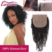 Luxcoco Virgin Brazilian Silk Closure Kinky Curly Unprocessed Human Hair Closure Bleached Knots Silk Top Closure Free Part 46cm