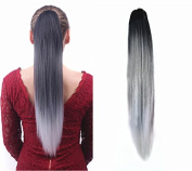 Black to Steel Grey to Silver Grey Three Colours Ombre Claw Jaw Clips in Ponytail Hair Extensions, Straight Style