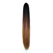 Black to Auburn to Brown Three Colours Ombre Claw Jaw Clips in Ponytail Hair Extensions, Straight Style