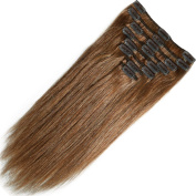 Clip in 100% Remy Human Hair Extensions 10/13/16/18/20/2.3cm 90-120g 8 Piece Full Head Silky Straight #6 Light Brown