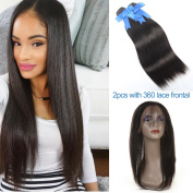 GEFINE Hair Brazilian Virgin Human hair Bundles 2pcs + 360 Lace Band Frontal Closure Silky Straight with Natural Hairline & Adjustable Strap 24 24+50cm