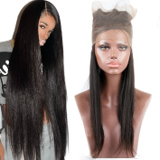 Fushen Hair Pre Plucked 360 Lace Frontal Closure Brazilian Straight Lace Frontals with Baby Hair Natural Hairline 60cm